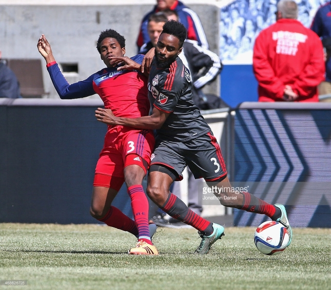 BRIDGEVIEW, IL - APRIL 04: Warren Creavalle #3 of Toronto FC and Joevin Jones #3 of the Chicago Fire battle for the ball during an MLS match at Toyota Park on April 4, 2015 in Bridgeview, Illinois. The Fire defeated Toronto FC 3-2. (Photo by Jonathan Daniel/Getty Images) Credit: Jonathan Daniel / staff