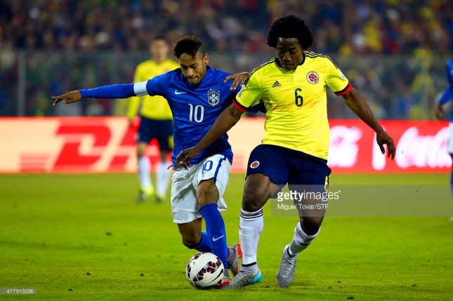 Miguel Tovar/STF Neymar of Brazil fights for the ball with Carlos Sanchez of Colombia during the 2015 Copa America Chile Group C match between Brazil and Colombia at Monumental David Arellano Stadium on June 17, 2015 in Santiago, Chile.