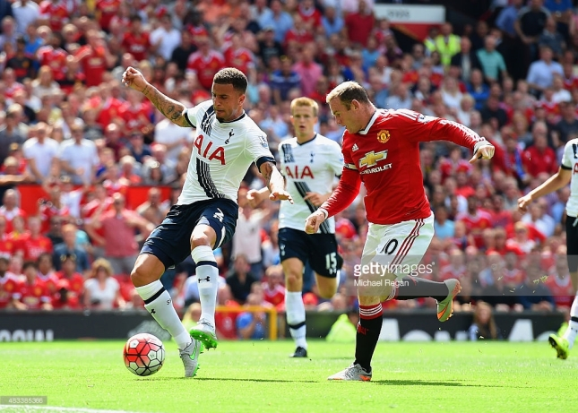 during the Barclays Premier League match between Manchester United and Tottenham Hotspur at Old Trafford on August 8, 2015 in Manchester, England.